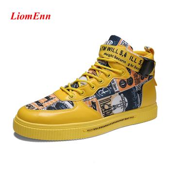 Graffiti wysokie trampki damskie buty 2021 wiosenne białe żółte tenisówki sportowe buty męskie tenisowe buty wulkanizowane kobieta duże rozmiary tanie i dobre opinie LiomEnn CN (pochodzenie) ZSZYWANE Drukuj Dla osób dorosłych Na wiosnę jesień Niska (1 cm-3 cm) Sznurowane Dobrze pasuje do rozmiaru wybierz swój normalny rozmiar