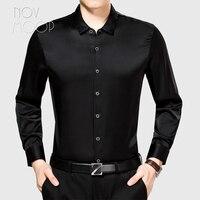 Novmoop casual style men summer blue black red full sleeve single breasted 100% silk shirt camisas chemise homme LT3054
