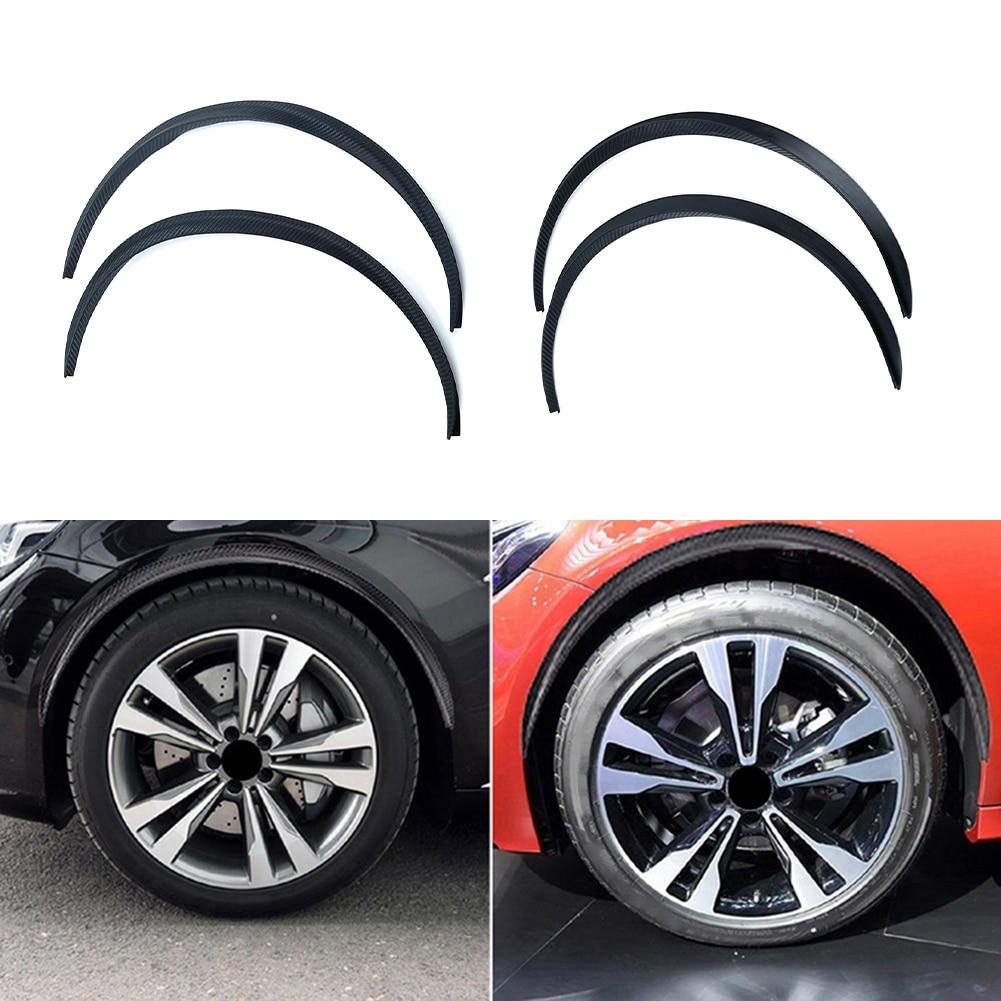 Car Fender 3D Wheel Eyebrow Arch trim strip Carbon Fiber Color 2PCs 150cm Rubber