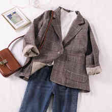 Casual Classic Office Lady Plaid Women Jacket Blazer Double Breasted Notched Collar Pockets Loose Jackets Female plaid blazer