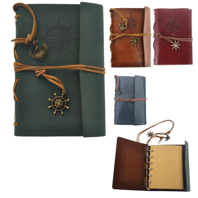 Notebook Retro Vintage Pirate Anchor PU Cover Loose-leaf String Bound Blank Notebook Notepad Travel Journal Diary Jotter