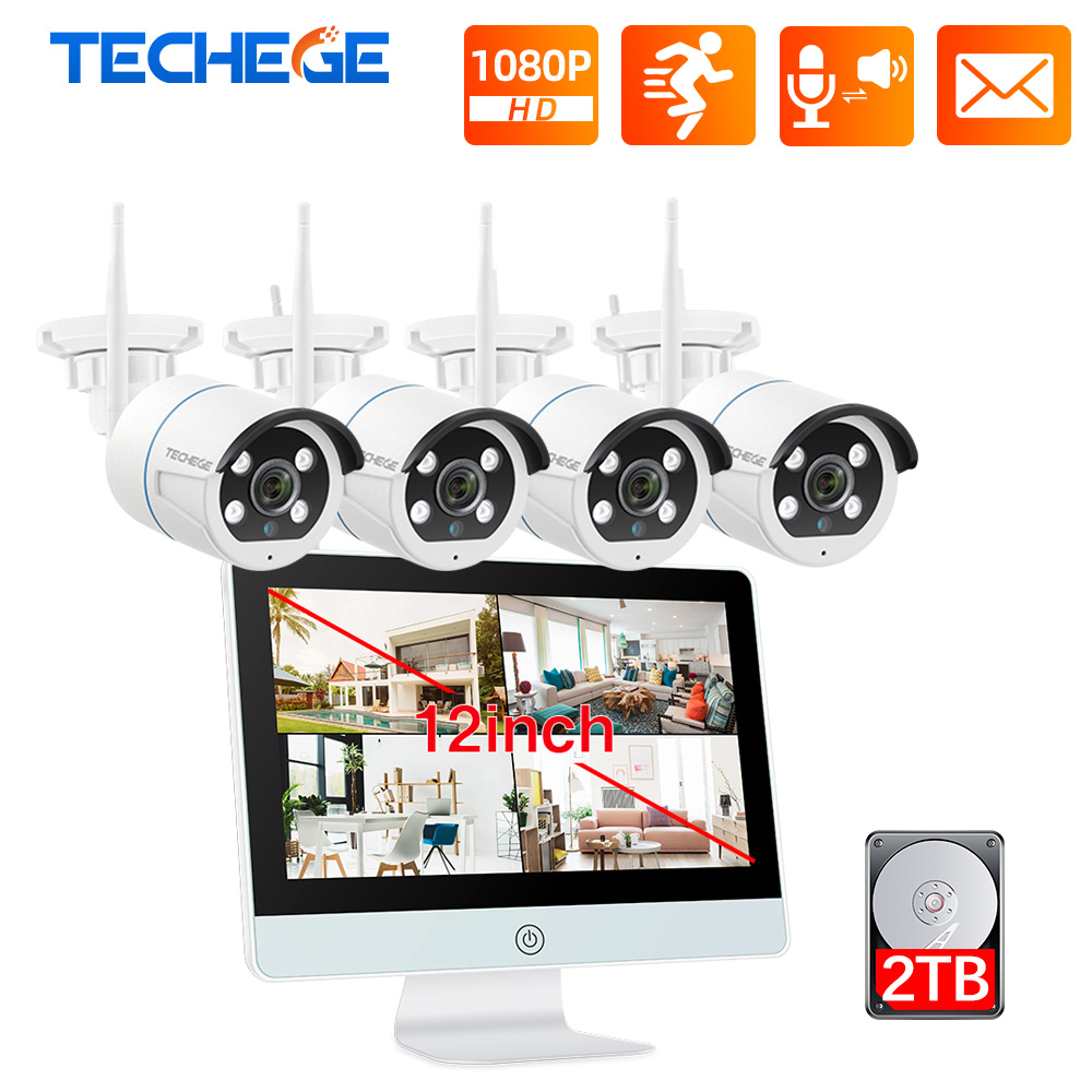 Techege 8CH CCTV Security Camera System Wireless 1080P IP Camera WIFI NVR Kit 12inch LCD Monitor Security 2MP Two Ways Talk Camera