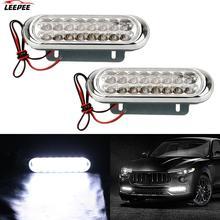 12V DRL Daytime Running โคมไฟ16 LED Car Van DRL Day Driving Light 2Pcs Universal หมอกแสงสีขาวรถวิ่งกลางวัน
