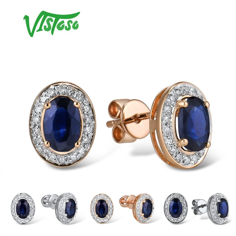 VISTOSO Pure 14K 585 роза/серьги из Белого Золота Шпилька для женщин Элегантный синий сапфир сверкающие бриллианты уникальные модные ювелирные изде...