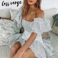 lessverge Dot white mesh ruffles summer dress Sexy off shoulder chiffon party dress Women elegant boho beach dress robe femme
