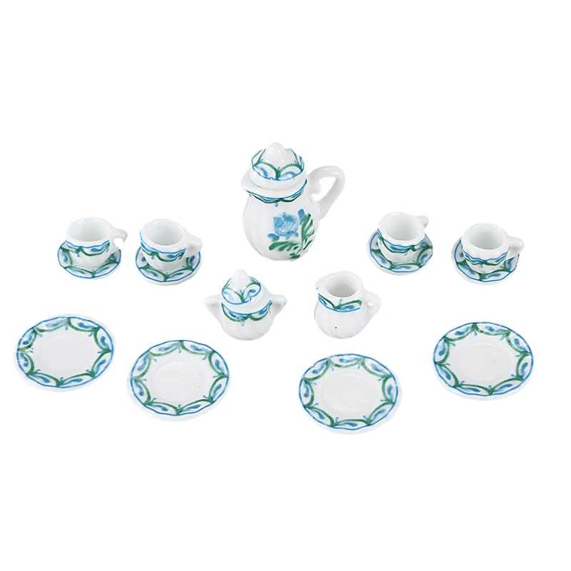 Dollhouse Miniature 1: 12 Toy Kitchen Dining Room 17 pc Porcelaine Tea Set lace