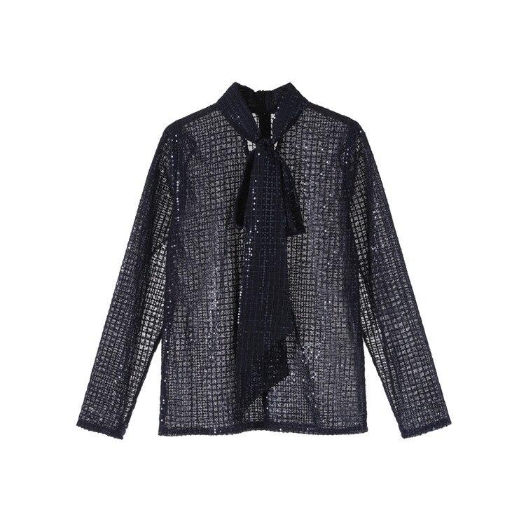 2019 automne blouse transparente femmes arcs voir à travers les manches longues bleu paillettes Blouse piste chemises élégantes - 4
