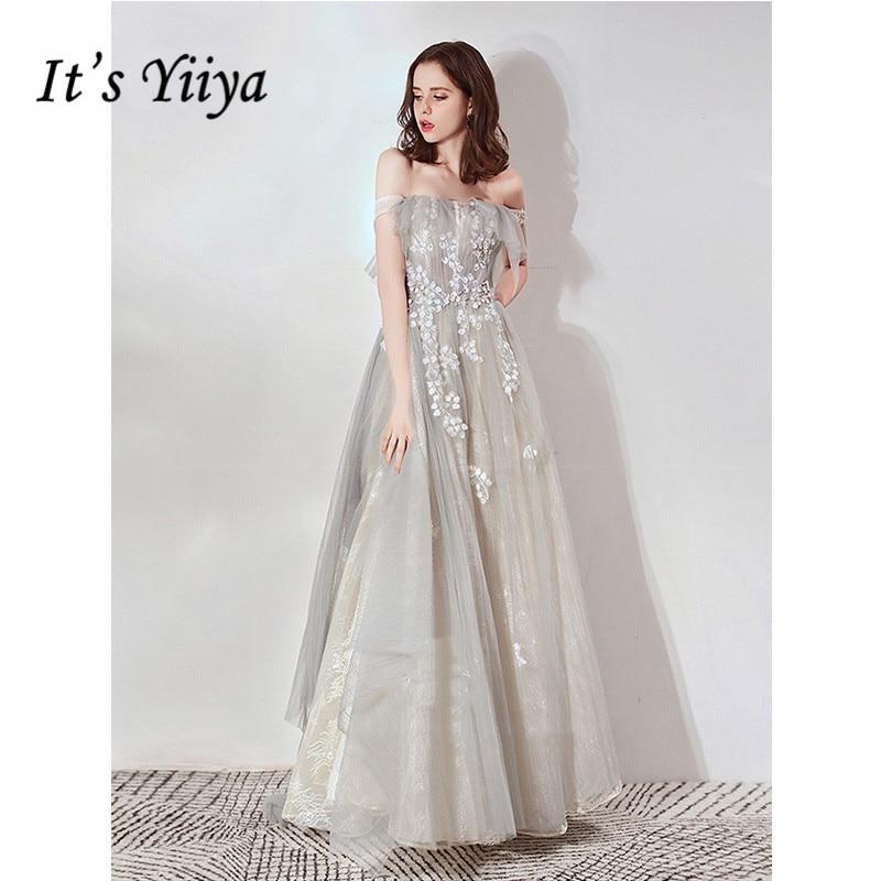 It's Yiiya Evening Dress 2019 Boat Neck Elegant Flowers Sleeveless A-Line Formal Gowns Vintage Robe De Soiree Plus Size E1104