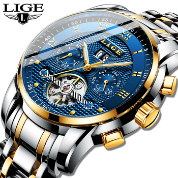 Relogio Masculino LIGE Mens Watches Top Brand Luxury Automatic Mechanical Watch Men Full Steel Business Waterproof Sport Watches colouring hollow skeleton automatic mechanical watches mens luxury business full steel winner wristwatch relojes para hombre