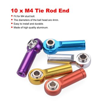 10pcs M4 Metal Tie Push Link Rod End Joint Ball Head Holder for 1/8 & 1/10 RC Truck Buggy Crawler Car Accessory