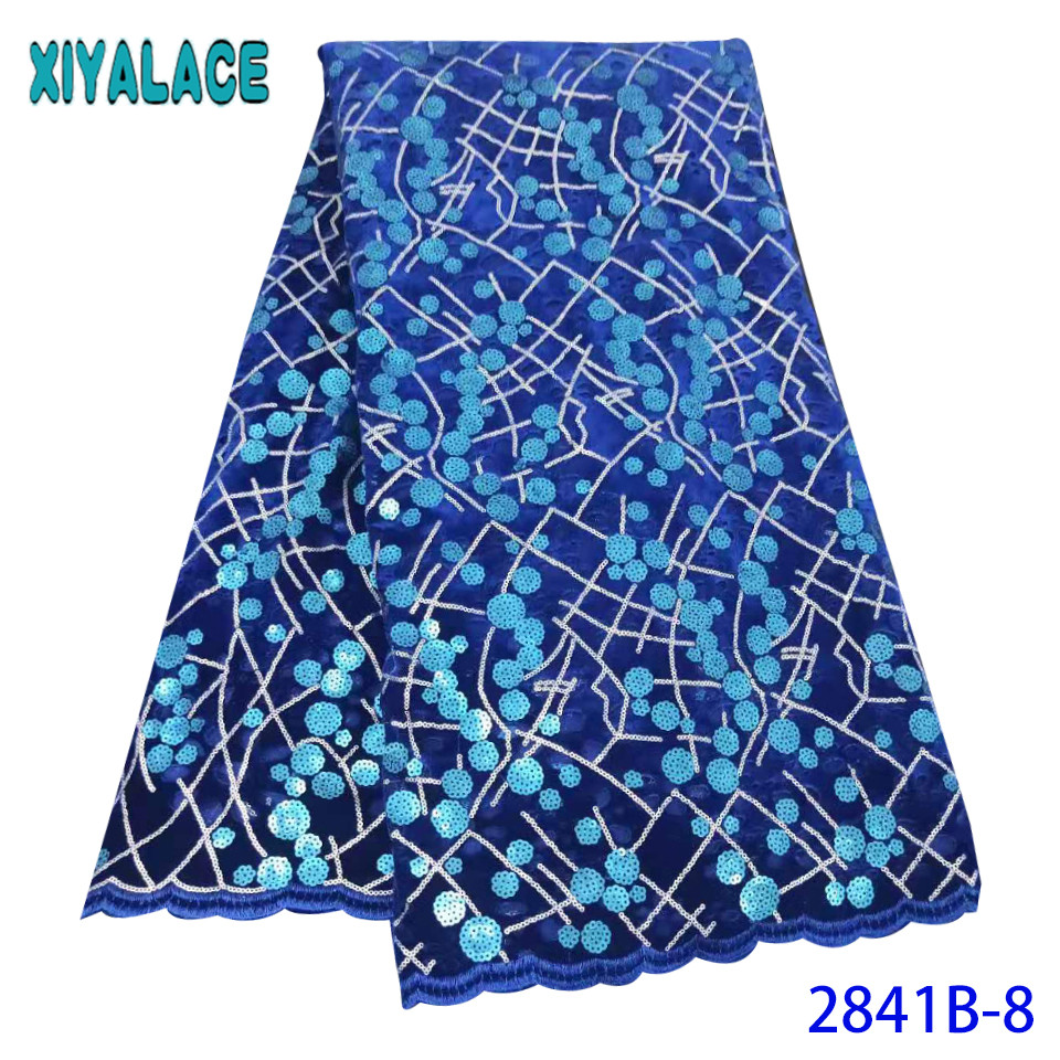 African Lace Fabric 2019 High Quality Lace Blue,Nigerian Lace Fabrics,Velvet Lace Fabric With Sequins For Women KS2841B-8