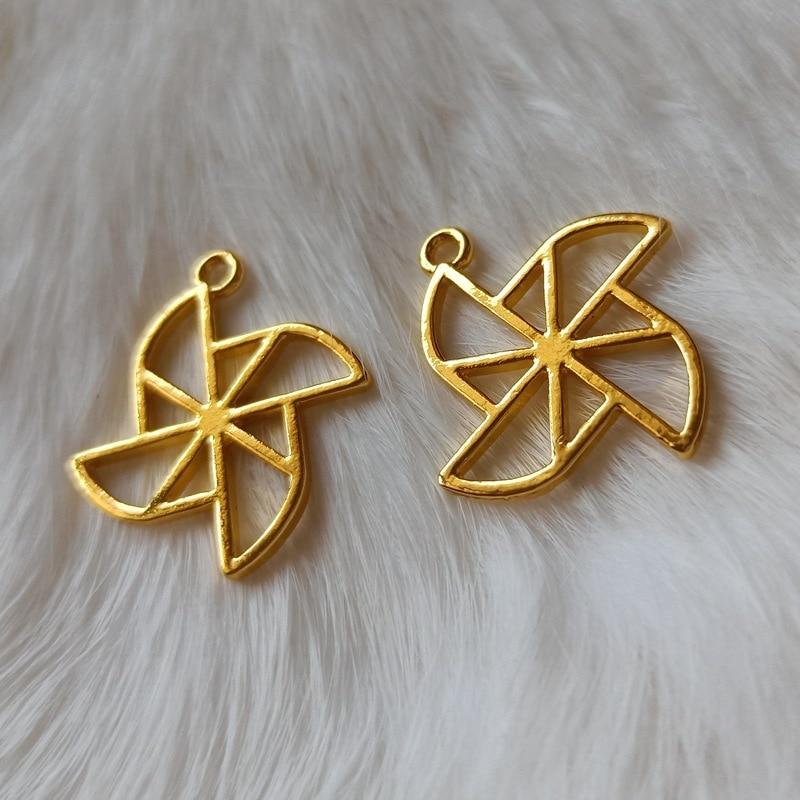Pinwheel Open Bezel Charm Paper Windmill Deco Frame Kawaii UV Resin Craft Supplies Jewelry Making Supplies Pendants Jewelry