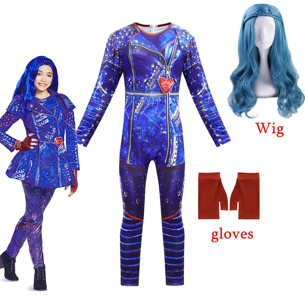 2019 New Hot Selling Descendants 3 Evie Anime Cosplay Costume Jumpsuits Halloween Carnival Costume For Kids 6-14 Year