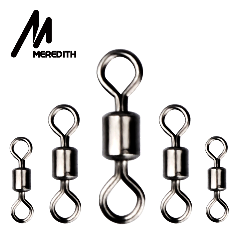MEREDITH 50PCS/Lot Fishing Swivel Sizes Solid Connector Ball Bearing Snap Fishing Swivels Rolling Stainless Steel Beads