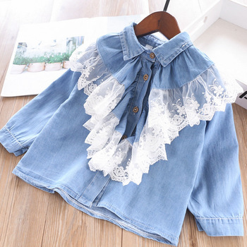 Sweet Kids Lace Ruffles Neckline Denim Clothes Spring Summer New Ins Holiday Cute Child Ins Blouse Tops