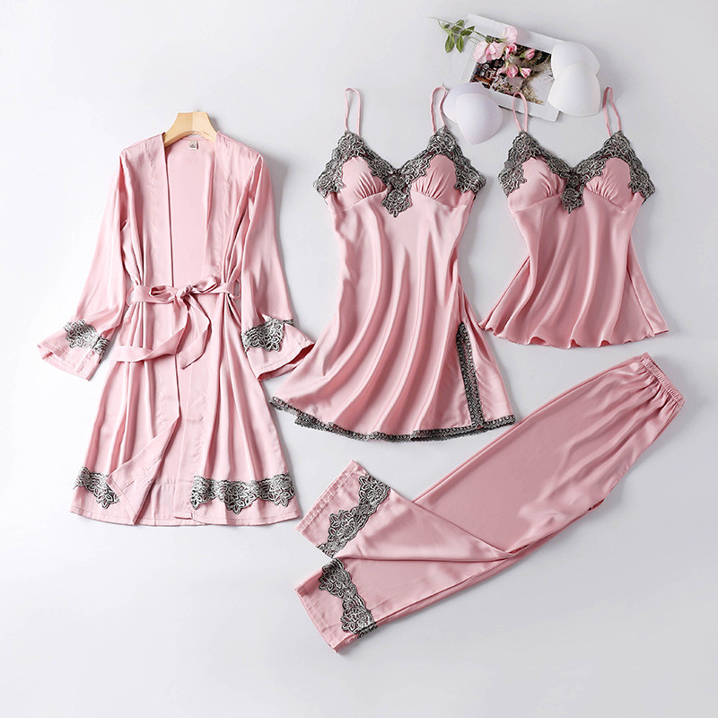 JULY'S SONG New 4 Pieces Women Pajamas Sets Faux Silk Pajamas Sleepwear Sets Elegant Sexy Lace Fashion Spring Autumn Homewear