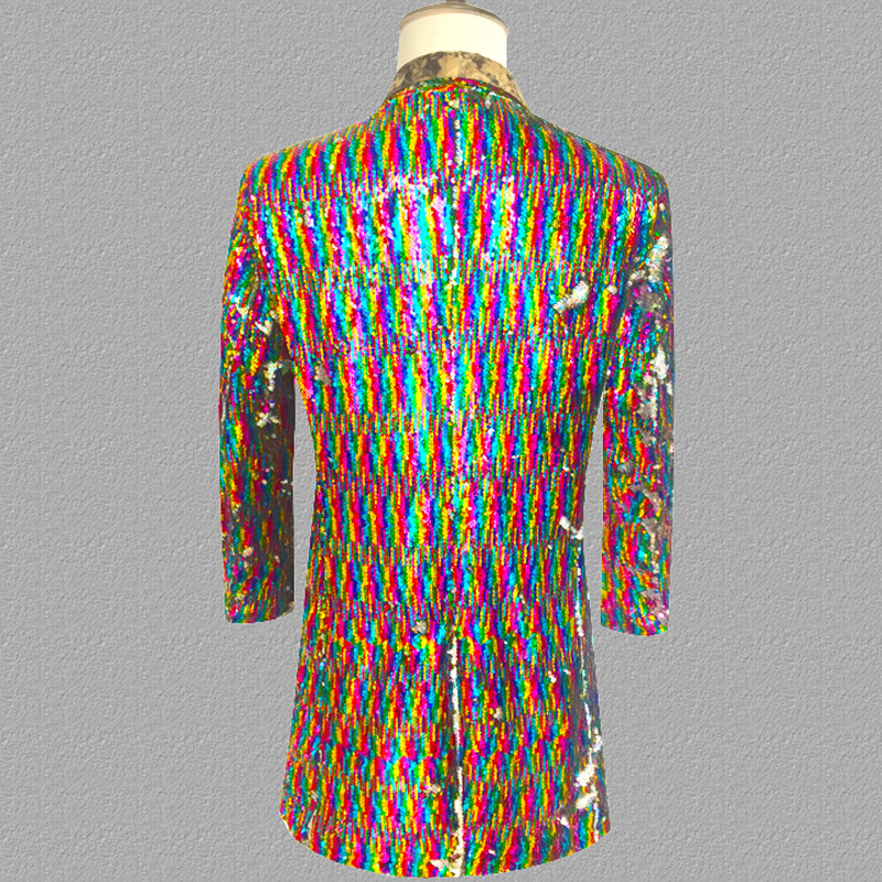 Long Laser Sequins Blazer Jacket Men Glitter Magician Sequin Mens Dress Costume Stage Party Singer Wedding Groom Suit Jacket 3XL - 4