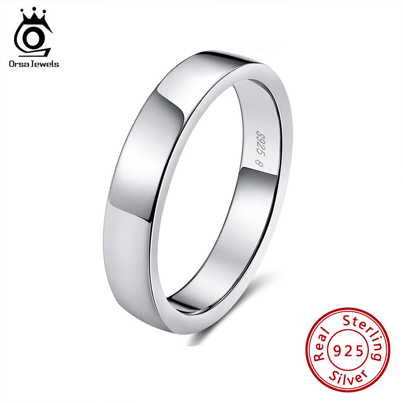 ORSA JEWELS Real 925 Sterling Silver Female Rings Classic Round Shape Simple Style Anniversary Wedding Ring Fashion Jewelry SR73(China)