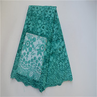Aqua Green French Nigerian Laces Fabric High Quality Beads Tulle African Laces Fabric Wedding African French Tulle Lace