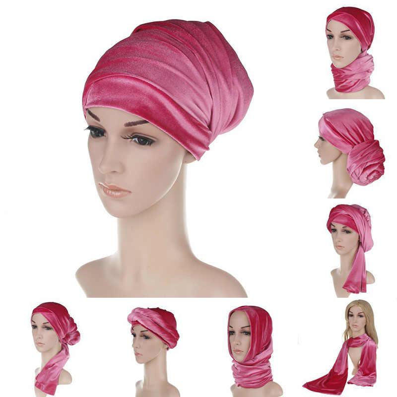 ססגוניות קטיפה צעיף אלסטי שיער אביזרי אביב הודי ראש כובע מוצק חורף פילטרים וכורכת שמיכת צעיף