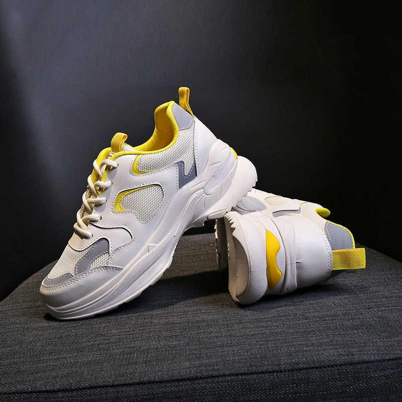 Moda Tasarımcısı Kadın Tıknaz Ayakkabı Platformu Kalın Taban Bayanlar Rahat Vulkanize Ayakkabı Web Ünlü Baba Kadın beyaz ayakkabı