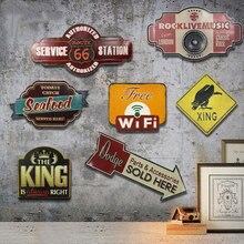Letreros de lata Vintage placa de Metal Retro americano especial sombra carretera gastada cena de hotel aceite de Gas coche Loft garaje señalización pared decoración