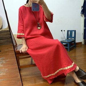 Original high-end pure linen gown dress national style women's tear edge embroidery long skirt before and after(China)