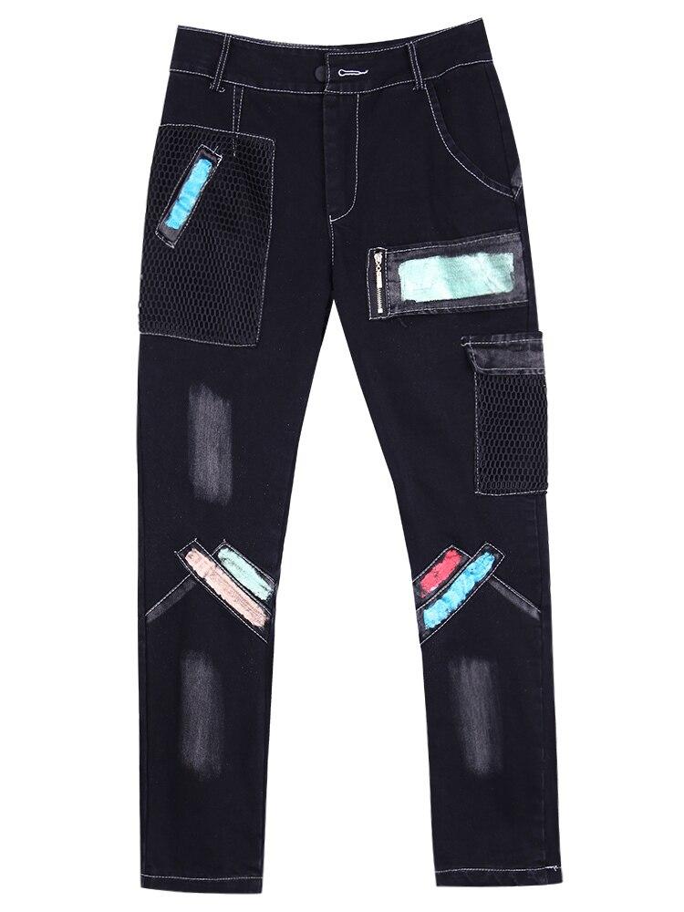 Высокое качество, повседневные винтажные Эластичные Обтягивающие зимние джинсы, женские узкие брюки с карманами, женские осенние длинные д... - 5