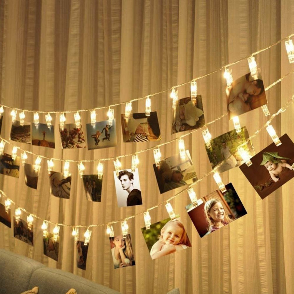 LED Garland Card Photo Clip String Lights Christmas Festival Party Wedding Birthday Home Decoration Led Festoon Lights 5M 3M 1M