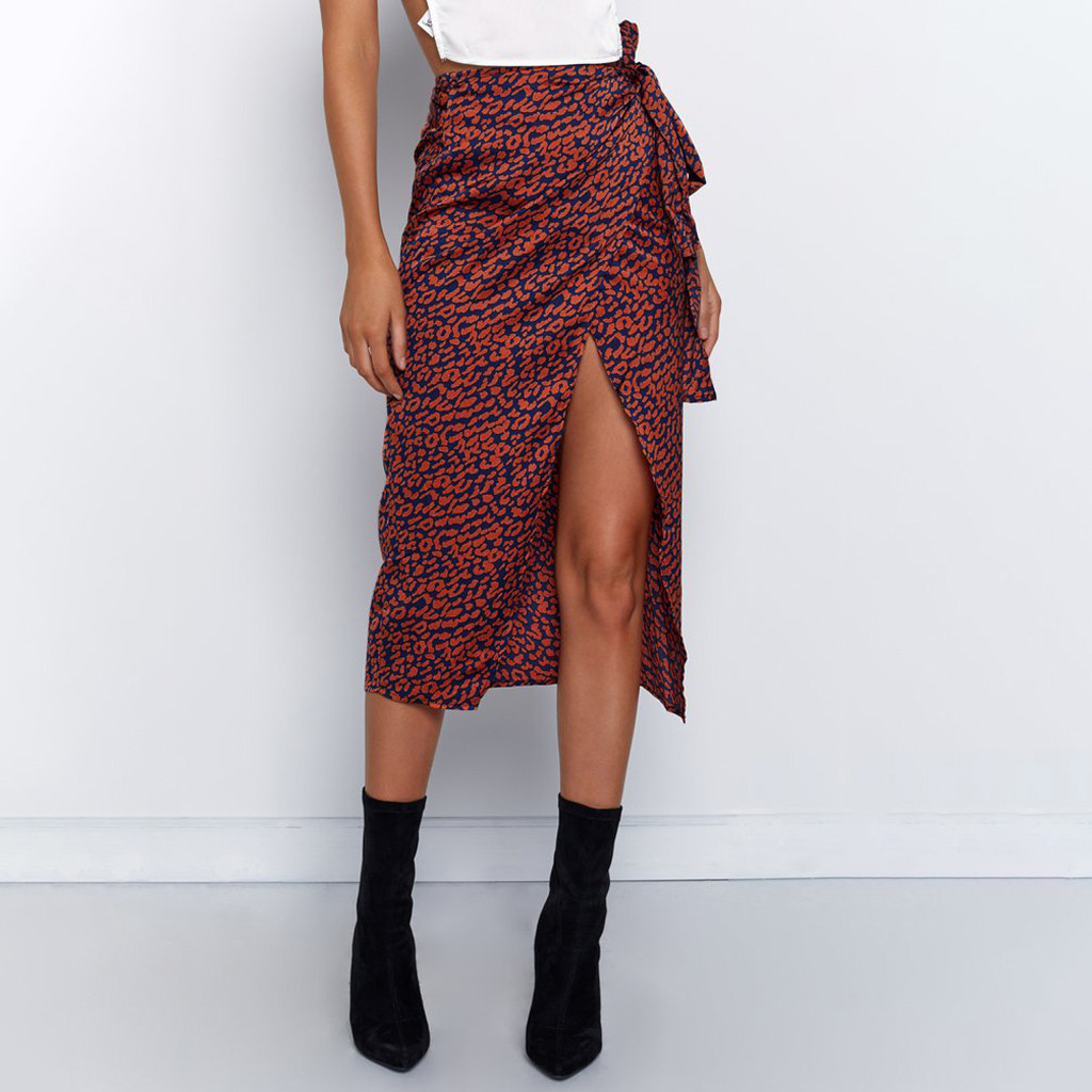 Sexy Womens Chiffon Wrap Skirts Floral Print Midi Skirt For Women With Split Boho Style Sexy Womens Beach Skirt Faldas Mujer