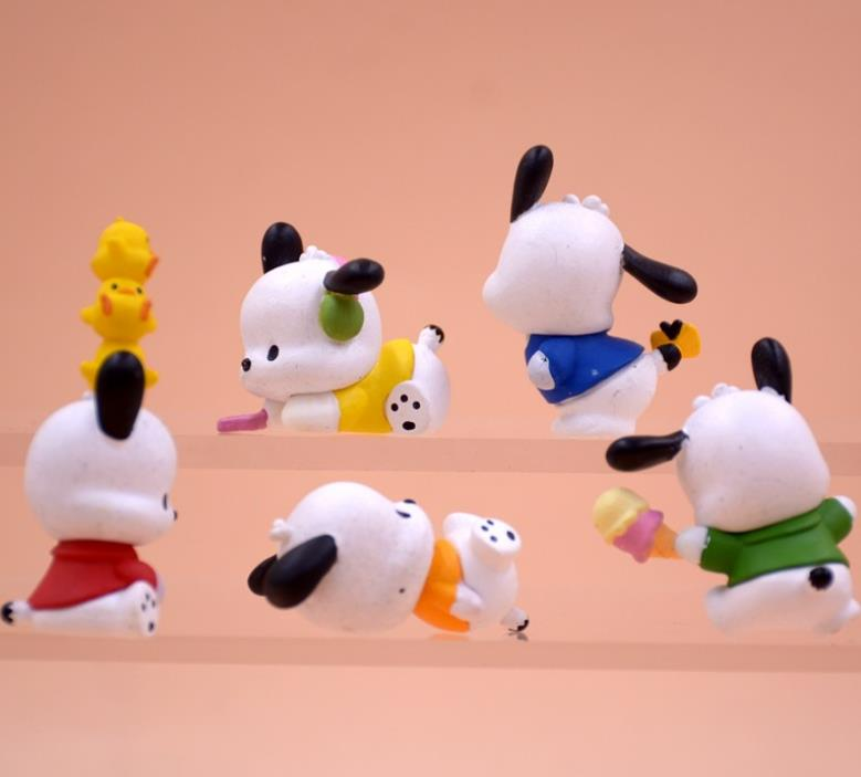 5 Pcs/set Cute Pc Dog Little White Dog Model Action Figure Toys Baby DIY Cake Decoration Doll Gifts for Girls Accessories-1