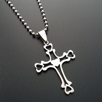 30 Stainless Steel Multilayer hollow Love Heart Cross Necklace Heart Religion Jesus Cross Necklace Family friend gifts jewelry