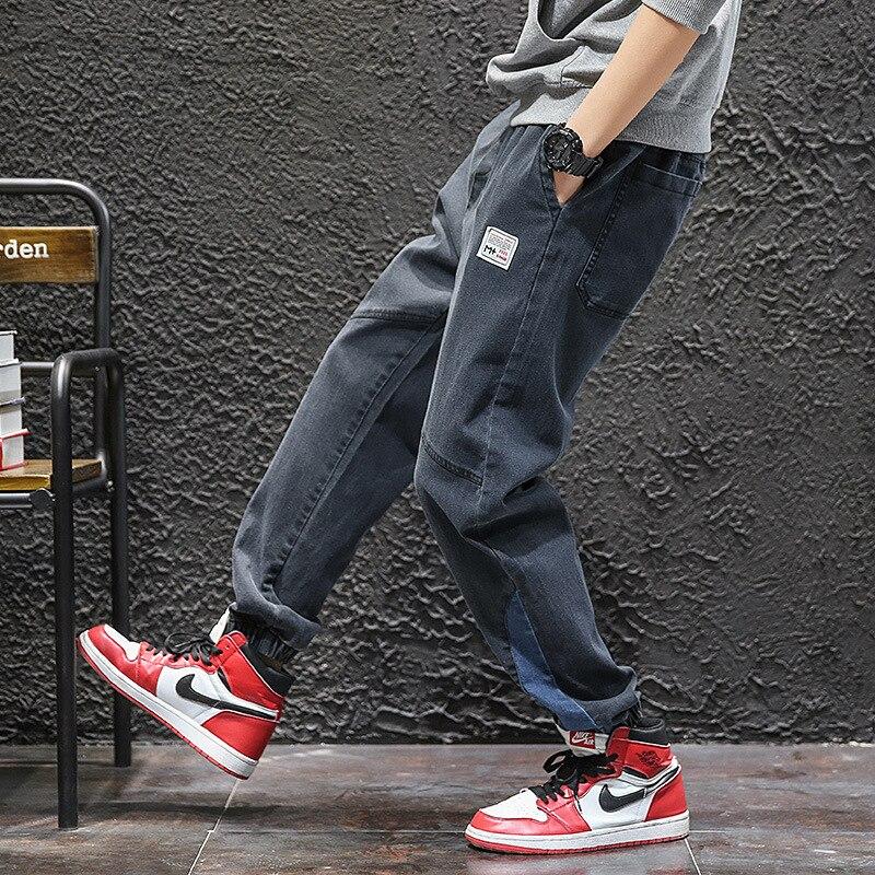 #2157 Autumn Japanese Streetwear Men Biker Jeans Black Blue Hip Hop Jeans Loose Elastic Waist Denim Harem Jeans For Mens Fashion
