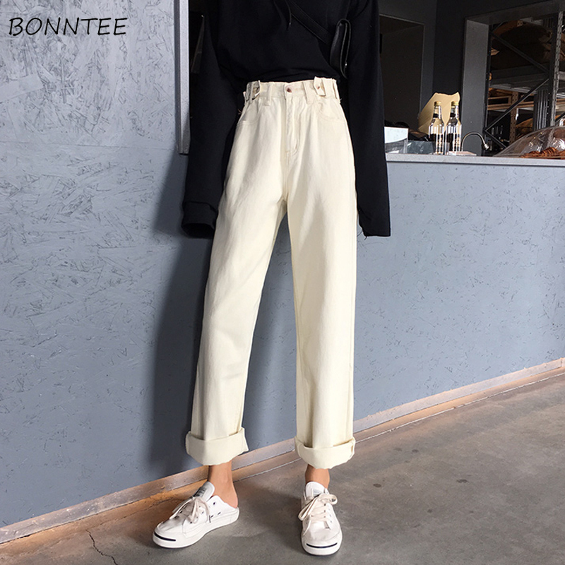 Jeans Women Retro Loose Trendy Elegant All-match High-quality Korean Style Students Leisure Daily Womens Female Lovely Simple