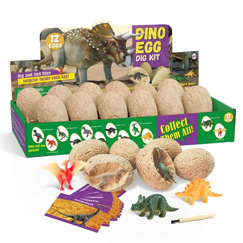Dig it up Dinosaur Egg 12PCS DIY Digging Fossil Excavation Toys Dino Egg Novelty Party Favors Toys Children Scientific Mining