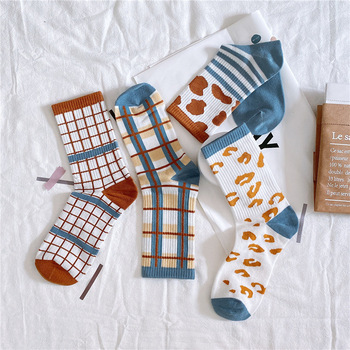 Women Fashion Cotton Socks Color Retro Long 2020 New Breathable Comfortable Wild Harajuku Patchwork Ladies Quality Casual - discount item  15% OFF Women's Socks & Hosiery