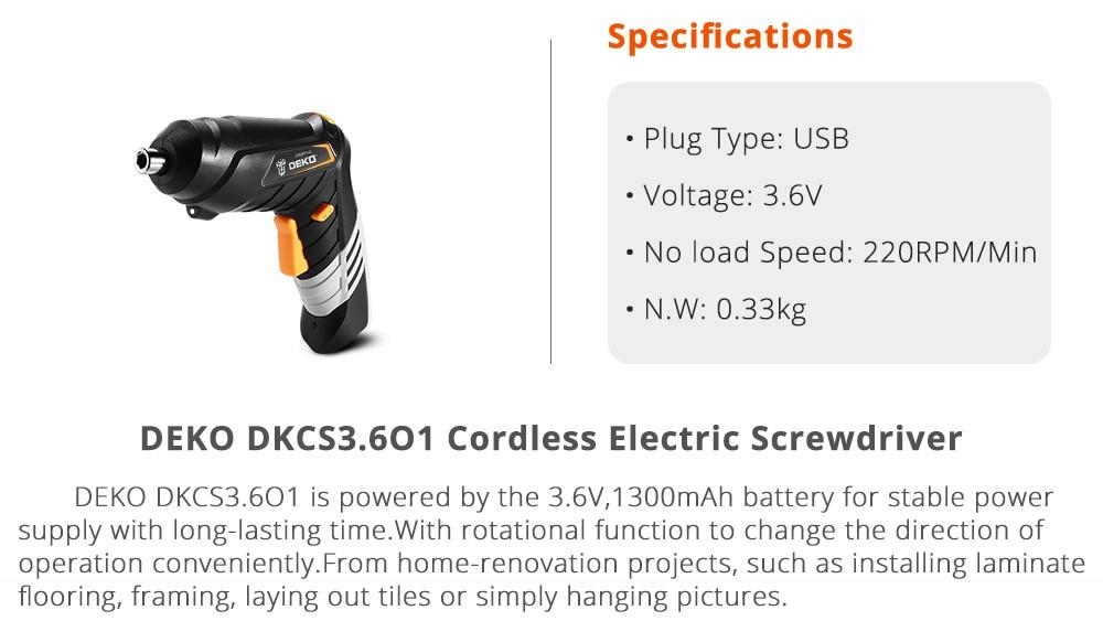 Specification of Deko Dkcs3.601 Cordless Electric Screwdriver