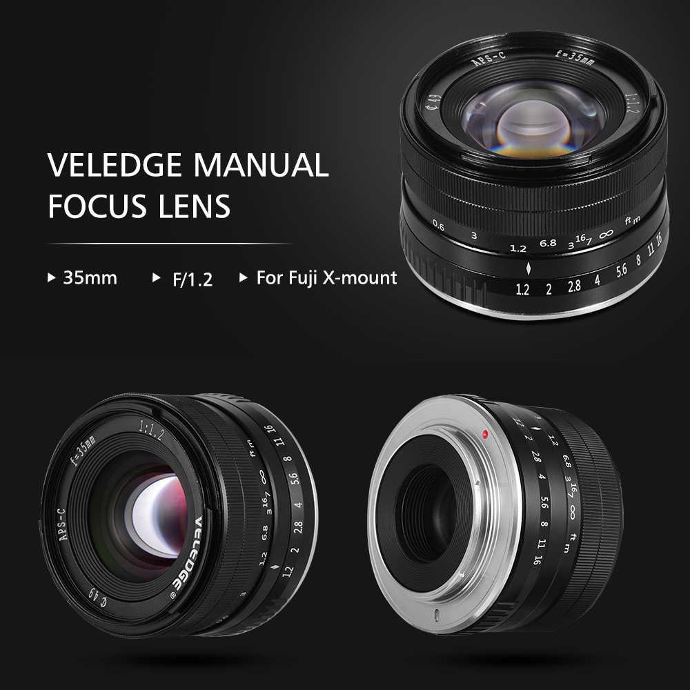 VELEDGE на очень высоком Разрешение 35 мм F1.2 фиксированным фокусным расстоянием большой апертурой Стандартный Камера объектив с фиксированным фокусным расстоянием объектив MF для цифровой фотокамеры Fuji Fujifilm X-Mount Fuji X-A1