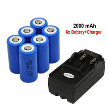 Li-Ion-Battery Battery-Charger Flashlight Cr123a for Led Toy -G30 6x2000mah 6x2000mah