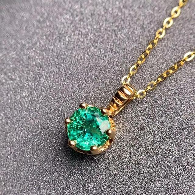 shilovem 18K yellow Gold real Natural emerald pendants fine Jewelry plant gift new plant none necklace 5*5mm  dz0505283ml 1