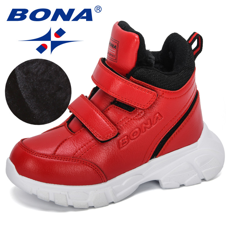 BONA 2019 New Designers Boy Synthetic Leather Fashion Boots Student Sneakers Plush Warm Kids Snow Boots Outdoor Girl Ankle Boots