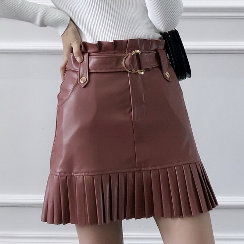 Chic Women Pu Leather Skirt Autumn 2019 New Fashion D-Ring Buckle Belt Above Knee Pleated Bottom Sweet Girl Mini Skirts