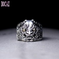 New S925 sterling silver jewelry Chinese style retro Thai silver enamel ring personality men's silver ring trend