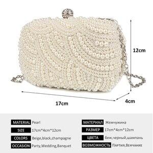 Image 2 - פרל מצמד שקיות נשים ארנק גבירותיי לבן יד שקיות ערב שקיות עבור מסיבת חתונה שחור כתף תיק Bolsa Feminina