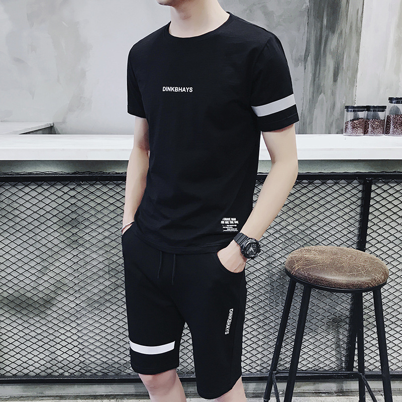 MEN'S Sport Suit Summer Youth Morning Jogging Suits Athletic Clothing Clothing Casual Short Sleeve Trousers Two-Piece Set Summer