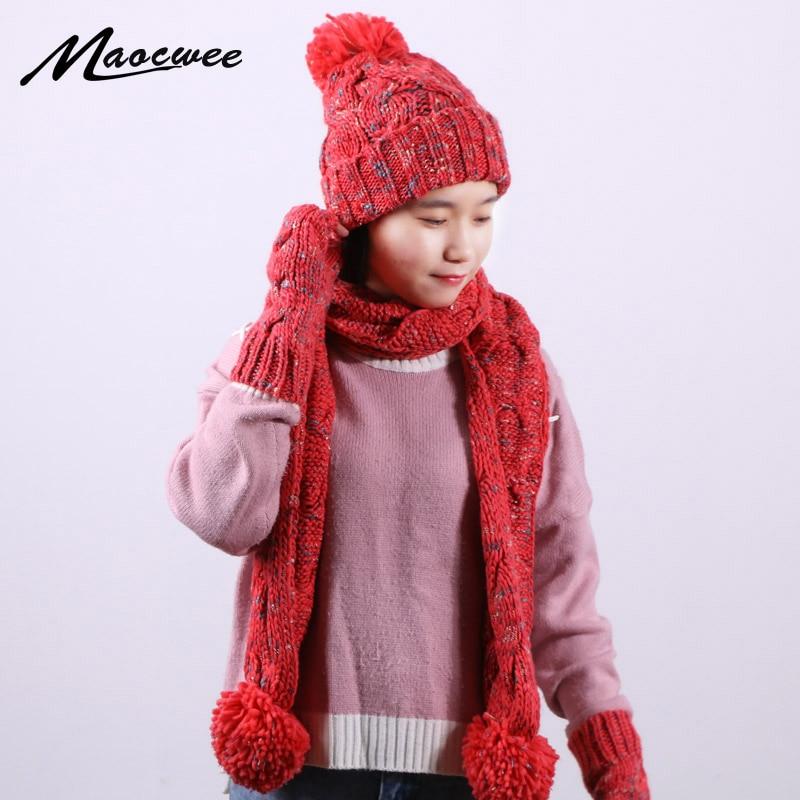 3 PC Women Winter Knitted Beanie Hat Scarf Gloves Sets Outdoor Fashion Crochet Twist Stripes Cap Gorros Bonnet Scarf Gloves Set