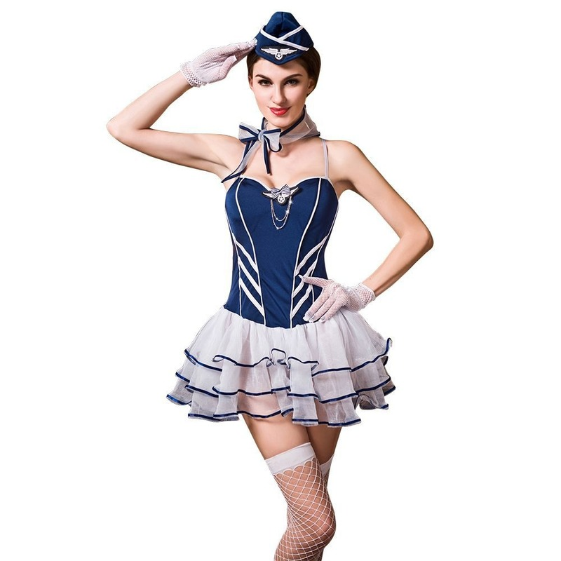 OlltMurs Dropship Stewardess Cosplay Costume Sexy Skirt for Sex Lace Skirt Uniform Suit with Blue Hat and Neck Scarf image