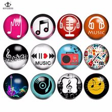 12pcs/lot Mix Glass Snap Button Musical Note Pattern Glass Clip Charms 18mm Snap Button For DIY Snaps Bracelet Necklace Jewelry(China)