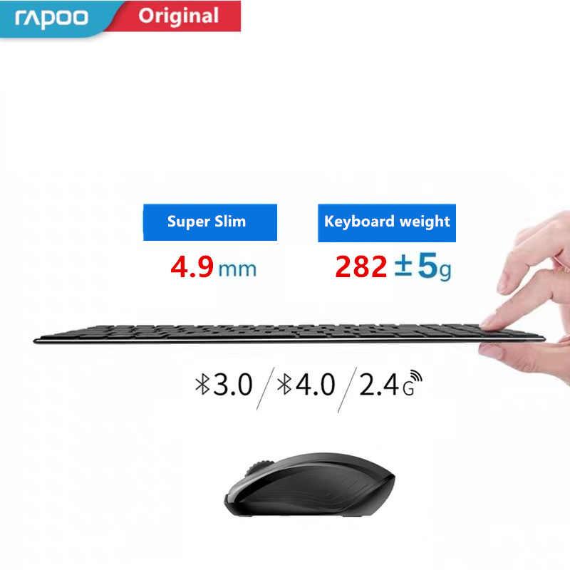 Nuevo Rapoo 9060M multimodo silencioso inalámbrico teclado ratón Combos Bluetooth 3,0/4,0 RF 2,4G interruptor entre 3 dispositivos de conexión