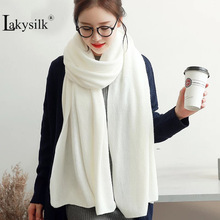 Women White Winter Scarf Solid Knitted Warm Long Pashmina Wraps